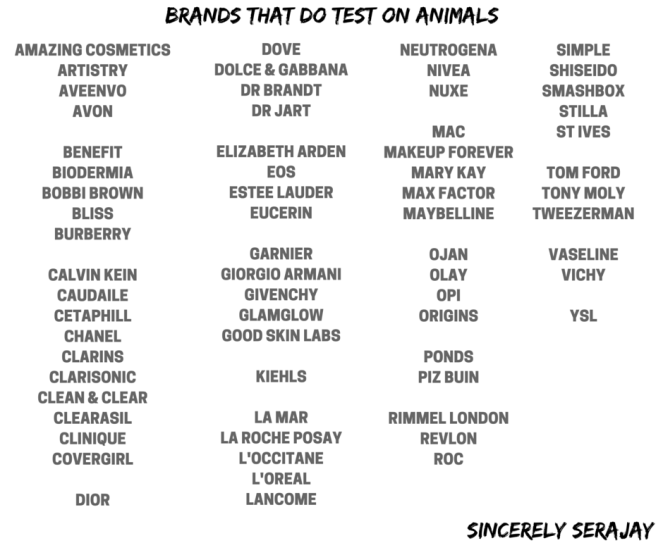 sincerely serajay cruelty free beauty brands that do test on animals