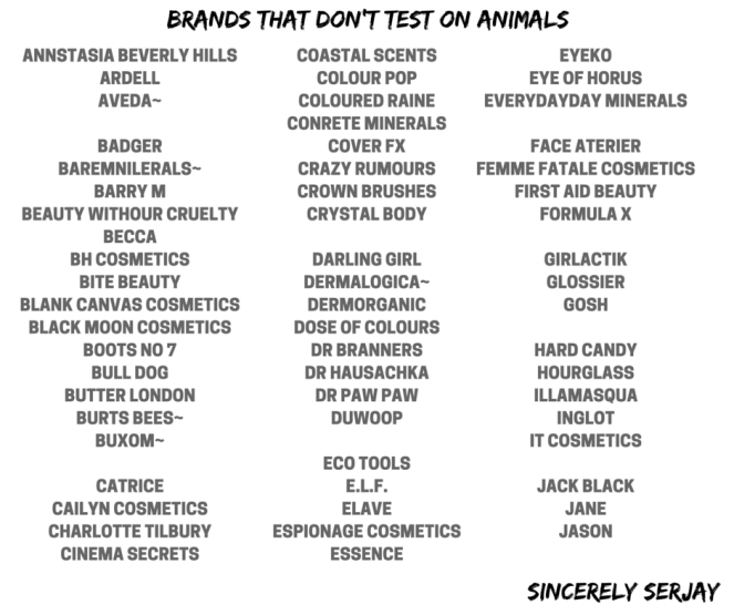 sincerely serajay cruelty free beauty brnads that don't test on animals