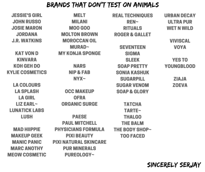 sincerely serajay cruelty free beauty brands that don't test on animals